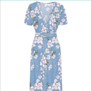 NWT Blue Floral Maxi Dress Plus 2X